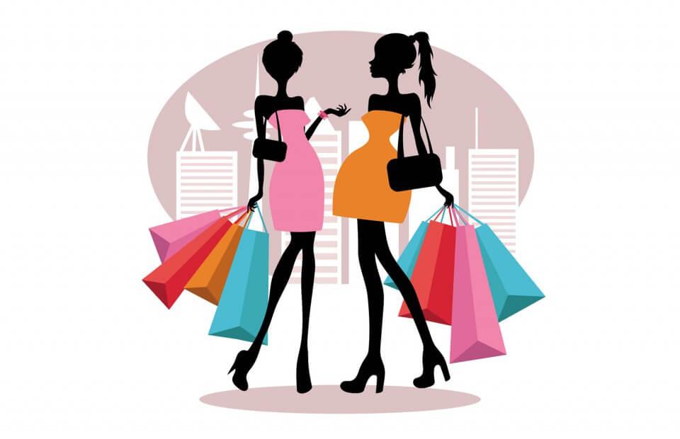 Illustration von 2 Frauen beim Shopping