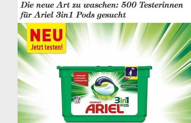Screenshot Produkttest Ariel 3in1 Pads
